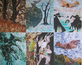 """Fabric panels from the Lord of the Rings by Tolkien - batik fabric  6,  12"""" x  16""""  from original batik"""