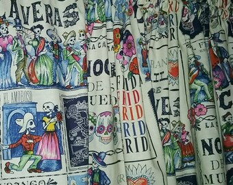 """Folklorico news Print Valance or  Panel 40 x 14"""" 18"""" 24"""" or 32"""" Lined or unlined"""