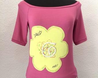 Womens Off Shoulder Pink Top, Flower Blouse