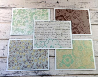 Blank Note Cards, Note Card Set, Blank Cards, Thank You Notes, Stationary, Set of 5 Note Cards with Matching Envelopes, Floral Poetry