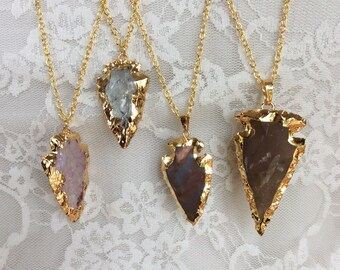 Druzy Arrowhead necklaces, boho necklace, gold arrow pendant necklace, gift for her