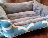 """READY - to - SHIP -- 19"""" X 15""""  - Dog Bed - Cat Bed - Blue & White Quatrefoil with Gray Grey Minky Center Dig Resistant"""