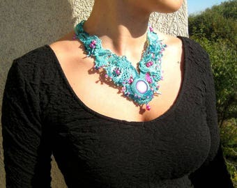 Turquoise jewelry necklace Beaded jewelry Statement necklace Gift for women Free form peyote beadwork Bead necklace