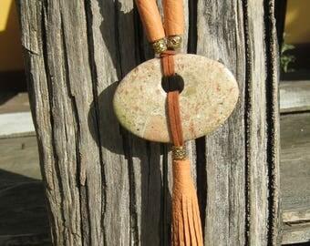 Long Tassel Necklace  Natural StoneTassel Necklace, Long Boho Necklace, Boho Jewelry, Boho  style, Brown tassel necklace, Gift for women