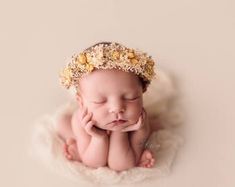 Newborn Flower Crown, Photo Prop Rose Halo and Posy, Rustic Baby Flower Headband and Bouquet, Newborn Yellow Flower Headband, Photo Props.