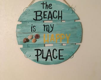 Handmade Reclaimed Wood Sign--Beach Is Happy Place Country Garden FArmhouse Decor--Hand Lettering-OOAK-Round Wooden Lid Sign--Fun Gift Idea