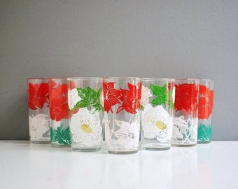 Collection of Vintage Floral Drinking Glasses