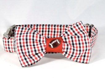 Preppy Black and Red Gingham Game Day Dog Bow Tie Collar,  University of Georgia UGA Bulldogs Football