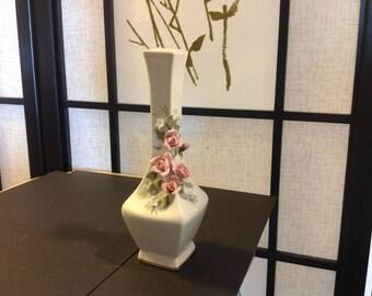 "Vintage porcelain white vase with 3-dimensional roses, 6.5"" tall"