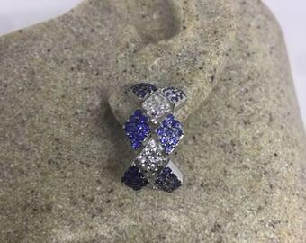 Vintage Handmade Sterling Silver genuine deep blue iolite tanzanite sapphire earrings