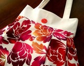 Fabric Purse, White Denim, Floral, Shoulder Bag, Fabric Tote Bag, Travel Bag, Gift for Women, Hand Sewn Gift, Gift for Mom, Gift for Her