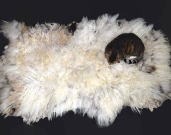 Cruelty Free, Navajo Churro, Cat Bed, Dog Bed, Pet Bed, Felted Wool, Fleece Rug, White Silver, Humane Sheepskin, Eco Friendly