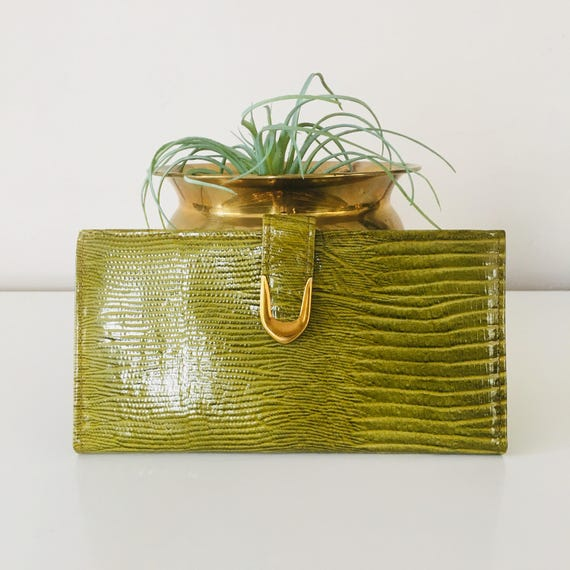 Vintage Green ROLFS Leather Wallet Double Clutch 60s Green Wallet Gold Hardware