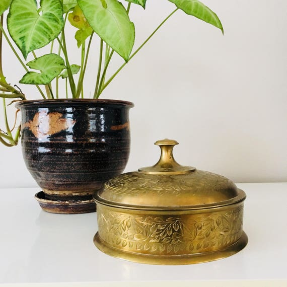 Vintage Brass Dish with Lid Etched Floral Gold Brass Container Brass Made in India Boho Bohemian Decor