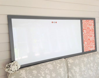 EXECUTIVE Dry Erase MAGNETIC Whiteboard Bulletin Board Message Center 23x60 Hand Crafted Solid Wood Frame Charcoal Gray Modern CHOOSE Colors