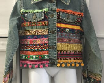 Decorated girls' Denim  Jeans Jacket 6T -