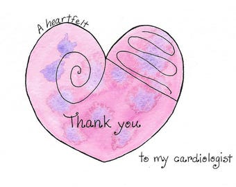 Cardiologist Thank You Card, Cardiologist Card, Doctor Thank You, Doctor Appreciation Card, Physician Recognition, Original Watercolor Heart