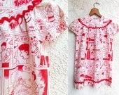 Vintage Toddler Dress, 60s Cotton Novelty Print Comic Strip, Metal Zipper, Rick Rack Little Girl Frock