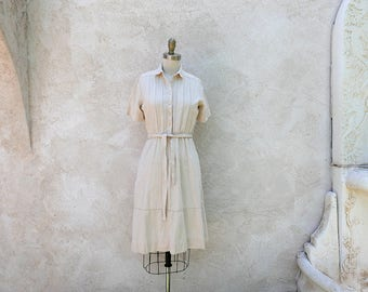 Vintage Raw Silk Dress, 1970s Ivory Shirtwaist, Classic Summer Frock XSmall