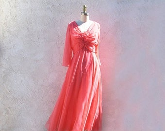 1/2 Off SALE Vintage Miss Elliette Coral Chiffon Gown, 1970s Long Sheer Formal Dress