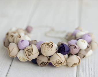 Ivory Purple  Floral Flowers bib Necklace Wedding bridesmaid Bridal boho party gifts necklace chunky floral necklace