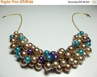 30% OFF SALE thru Mon Gold Bronze Purple Brown Teal Pearl Cluster Necklace, Mothers Day, Christmas Gift, Mom Sister Grandmother Wedding Jewe