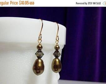 30% OFF SALE thru Sun Swarovski Antique Brass Pearl Crystal Drop Gold Earrings, Christmas Gift Mother Wedding Bridesmaid Mom Birthday Gift S