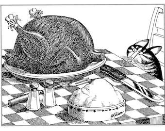 Kliban Cat Cartoon, original vintage art print, Christmas Turkey cat