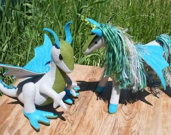 Magic of the Sea ~ Dragon & Pegacorn Fantasy Plush Pair ~ Mermaid Magic, Ocean Colors Eco Friendly Stuffed Animal Toys, Dragon Pegacorn Set