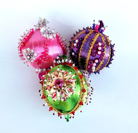 Vintage 1960's Retro Style Pin and Bead Ornaments in Pink, Purple and Green Set of 3