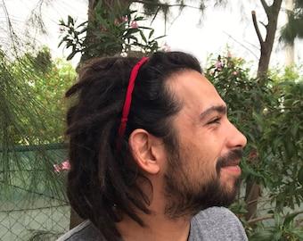 Red headband for him, dreadlock headband, man headband, hair accessory for him, beach headband, husband, boyfriend gift, men headband