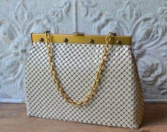 Vintage Large Whiting And David Metal Mesh Handbag