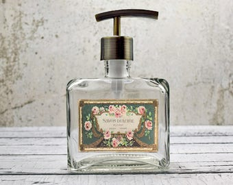 Glass Soap Dispenser | French Country Kitchen Decor | Hand Soap Dispensers  | Paris Bathroom Decor