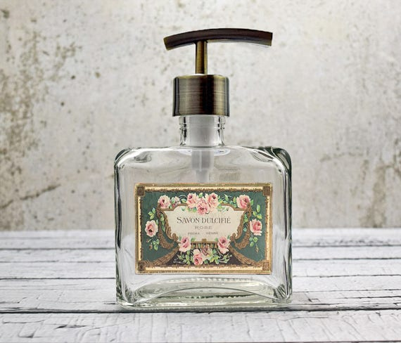 Country Kitchen Accessories: Glass Soap Dispenser French Country Kitchen Decor Hand