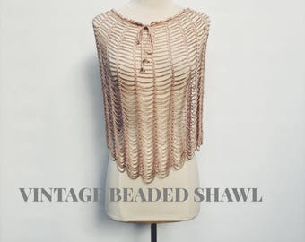 70's vintage iridescent beaded shawl - 1970's open knit draped shimmering poncho - one size