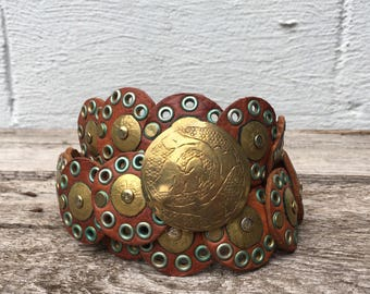 MED | Brown Leather and Brass Moroccan style Belt