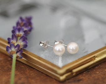 White 6mm Ocean Drop Pearl Earrings