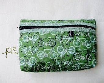 Quilted Green Bicycle Pouch - Bikes Cosmetic Pouch - Zippered Bicycles School Supplies Case