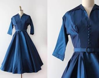 vintage 1950s dress // 50s dark blue evening party dress