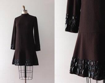 vintage 1960s evening dress // 60s brown beaded dress