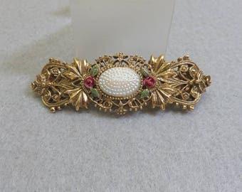 1928 Jewelry Company Victorian Design Hair Barrette, Vintage Gold Barrette