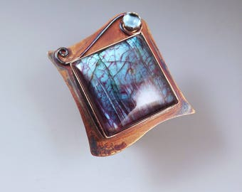 Purple Labradorite and Blue Topaz- Magic Mirror- Multi Color Swirl Patina- One of a Kind- Metal Art- RedPaw Statement Ring