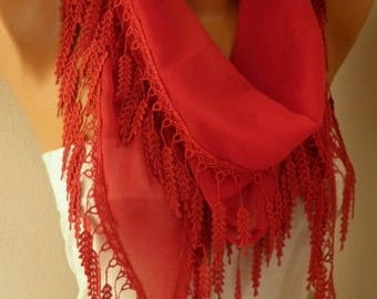 Clothing Gift  Red Cotton Scarf Cowl Scarf Gift Ideas For Her Women's Fashion Accessories best selling item