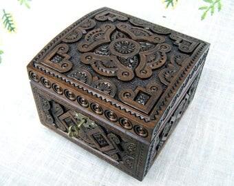 Jewelry box Wooden box Ring box Jewelry Jewelry holder Jewelry organizer Jewelry storage Lock wooden jewelry box Black ring jewelry box B2