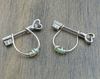 Heart and Key Silver Nipple Shield Barbell Jewelry