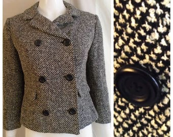 Vintage 1960s Jacket Black and White Tweed Double Breasted Suit Jacket Jackie O Medium
