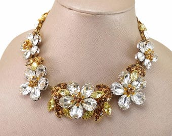 Incredible Vintage Schoffel & Co Austria Rhinestone Flower Cluster Collar Necklace RARE!