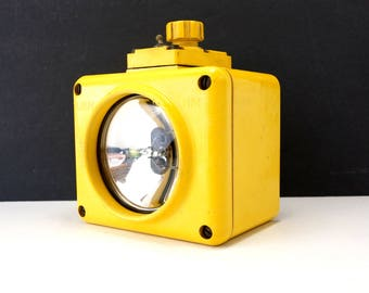 Vintage US Navy Battle Lantern Waterproof Light in Bright Yellow (c.1960s) - Industrial Home Decor | Unique Light