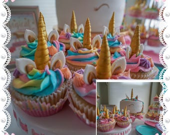 GOLD Fondant Unicorn Horns and Ears for cupcakes the perfect touch for your home made baking treats, you choose the colors