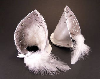 Reserved for Arapegio Trommashere Cloud Fox Silver White Pearl Leather Jeweled Fox Wolf Ears Inumimi Kitsune Fairy Cosplay